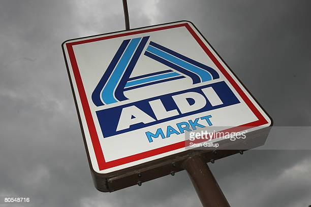 A sign marks the location of a branch of German discount supermarket chain Aldi on April 7 2008 in Berlin Germany Germany's biggest service industry...
