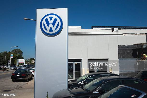 A sign marks the location of a Volkswagen dealership on September 22 2015 in Evanston Illinois The Environmental Protection Agency has accused...