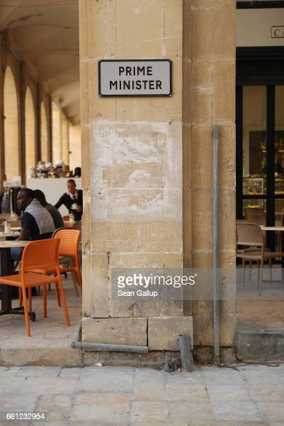 A sign marks the official parking spot of the Maltese prime minister on March 30 2017 in Valletta Malta Valletta a fortfied town that dates back to...