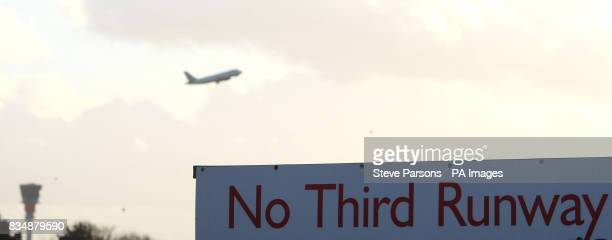 A sign near the village of Sipson say no to the third runway at Heathrow Airport as the decision is debated in the House of Commons