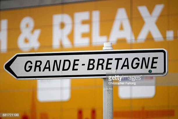 A sign next to shops points the way to Grande Bretagne at the Calais Tunnel Sous La Manche terminal on May 13 2016 in Calais France The Schengen...
