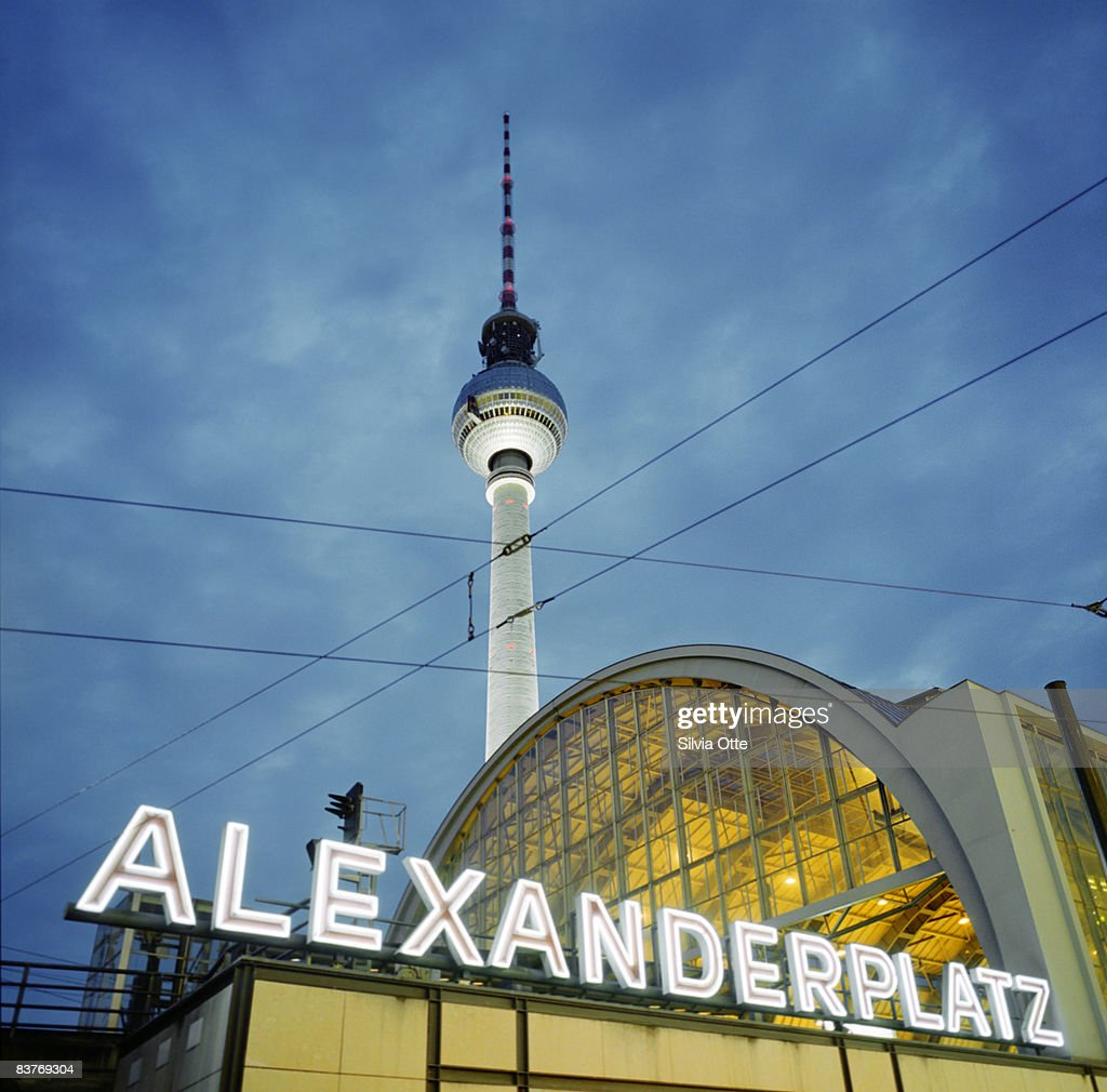 sign of Alexanderplatz with Radio tower