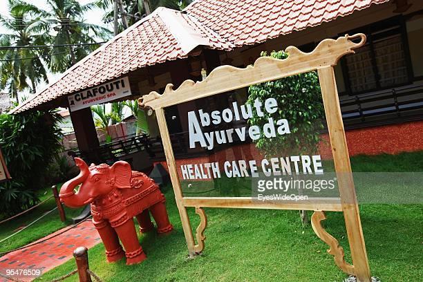 Sign of an ayurveda health centre in Varkala on December 16 2009 in Varkala near Trivandrum Kerala India