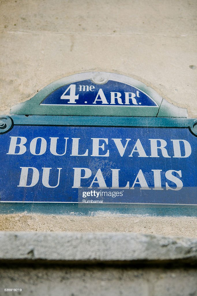 Sign of Boulevard Du Palais, Paris, France : Stock Photo