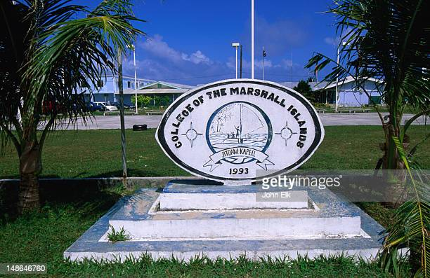 Sign of College of the Marshall Islands, D.U.D Municipality.