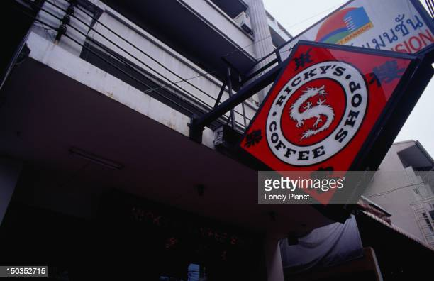 Sign of Ricky's Coffee Shop in Banglamphu.