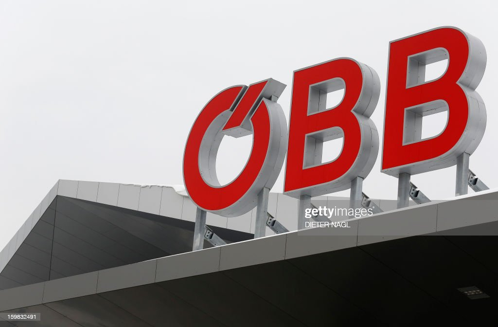 A sign of the Austrian federal train company (OeBB) is displayed on the roof top of the new Vienna central railway station on January 21, 2013 in Vienna, Austria.
