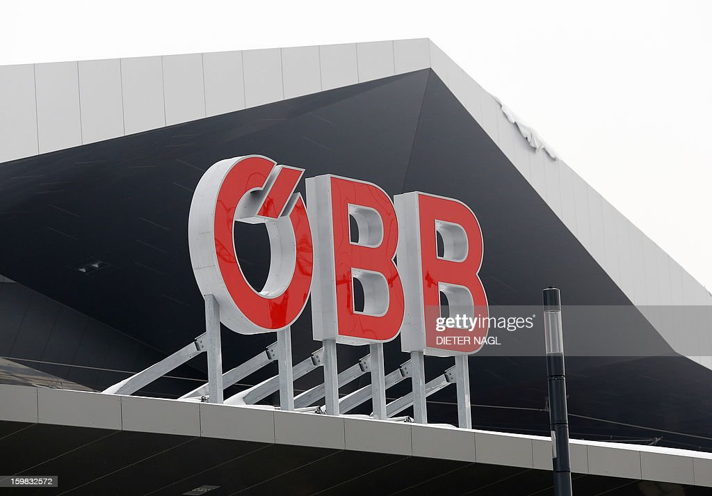 A sign of the Austrian federal train company (OeBB) is displayed on the roof top of the new Vienna central railway station on January 21, 2013 in Vienna, Austria. AFP PHOTO / DIETER NAGL