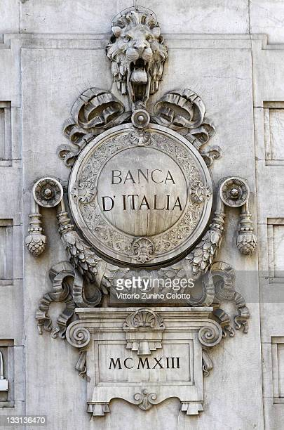 A sign of the Banca D'Italia is displayed on November 17 2011 in Milan Italy Italy's new Prime Minister Mario Monti unveiled the country's new...