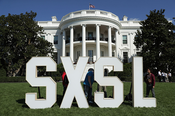 A sign of the South by South Lawn a White House festival of ideas art and action is seen October 3 2016 at the South Lawn of the White House in...