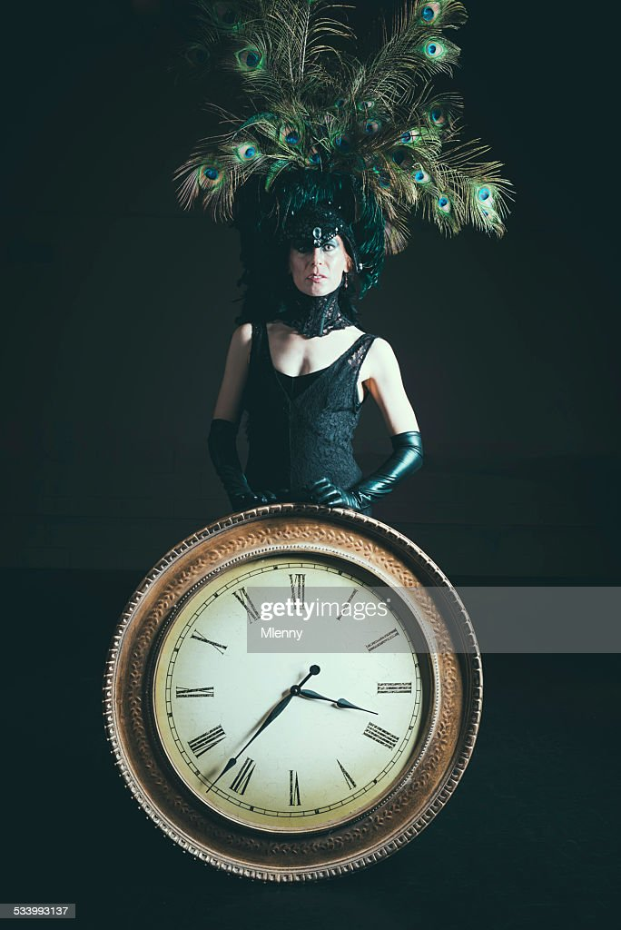 Sign of the Times Senior Woman holding Clock Surreal Portrait