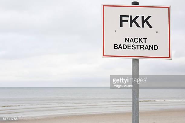Sign on a beach