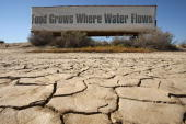 A sign on a farm trailer reading 'Food grows where water flows' hangs over dry cracked mud at the edge of a farm April 16 2009 near Buttonwillow...