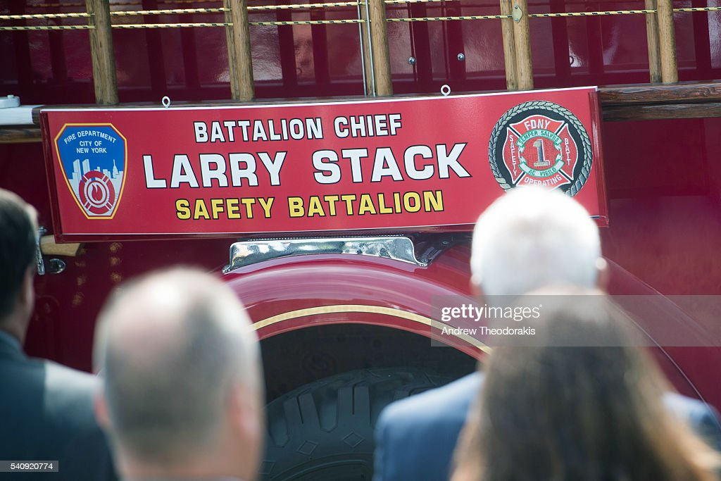A sign on a funeral caisson fire truck during the funeral for Fire Department of New York Battalion Chief Lawrence Stack who was killed in the World...