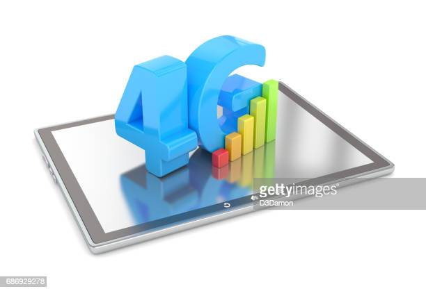 4G sign on digital tablet screen