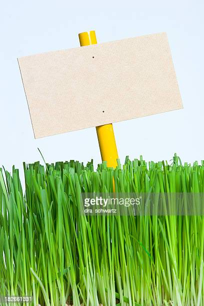 Sign on grass