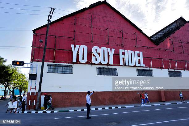 A sign on the building of the former Bacardi rum plant reads I am Fidel Fidel close to the cemetery where the funeral of Fidel Castro took place on...