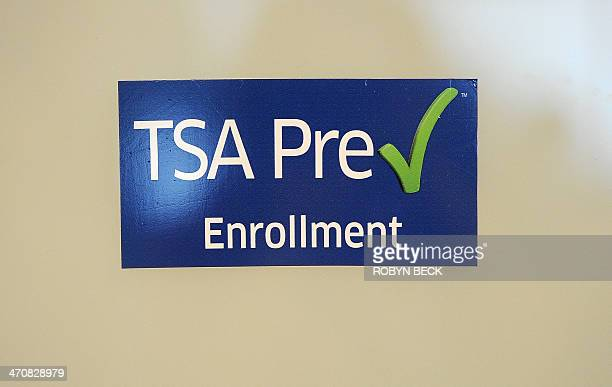 A sign on the entrance to the Transportation Security Administration's new Precheck program enrollment office at Los Angeles International Airport on...