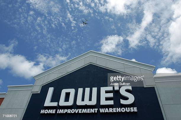 A sign on the exterior of a Lowe's home improvement warehouse store is seen May 22 2006 in San Bruno California Lowe's the second largest home...