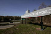 A sign on the highway welcomes drivers to the US Naval Submarine Base May 13 2005 in Groton Connecticut The Pentagon officials announced the possible...