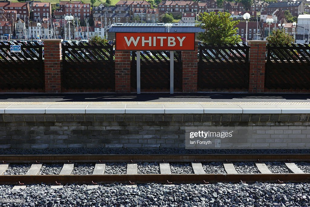 A sign on the platform at a ceremony to mark a second platform opening at Whitby train station on August 15, 2014 in Whitby, England. The second platform will provide passengers with more options for travel to the Yorkshire seaside town on the North Yorkshire Moors Railway and was the first time in half a century two steam locomotives were side by side at the station.
