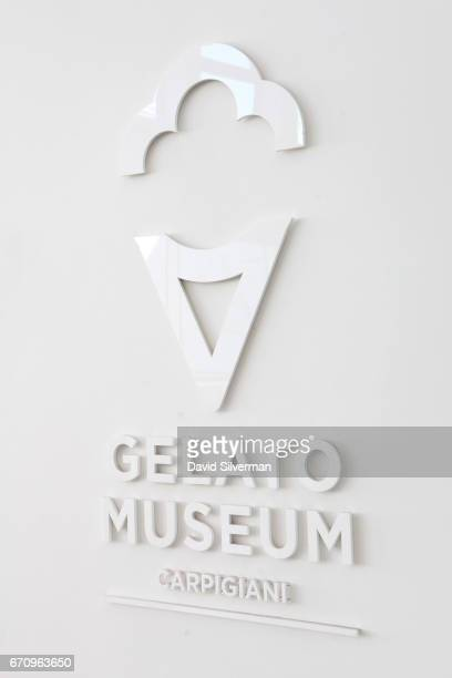 A sign on the wall at the Carpigiani Gelato Museum on March 28 2017 in Bologna Italy Italian brothers Bruto and Poerio Carlo Carpigiani founded the...