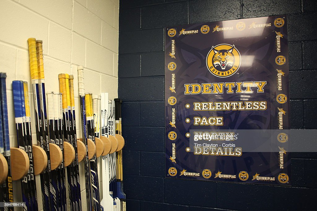 A sign on the wall of the dressing room during the Quinnipiac University Men's College Ice Hockey team training at the TD Bank Sports Center at...