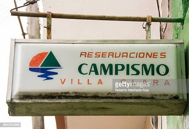 Sign or logo for the Cuban Camping government run company where you can reserve a room The camping kind of tourism became popular in Cuba after most...