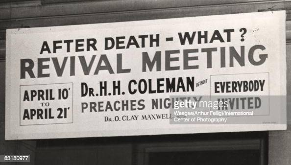 A sign outside a Harlem church during Easter Sunday announces a revival meeting The sign reads in part 'After Death What Revival Meeting Dr HH...