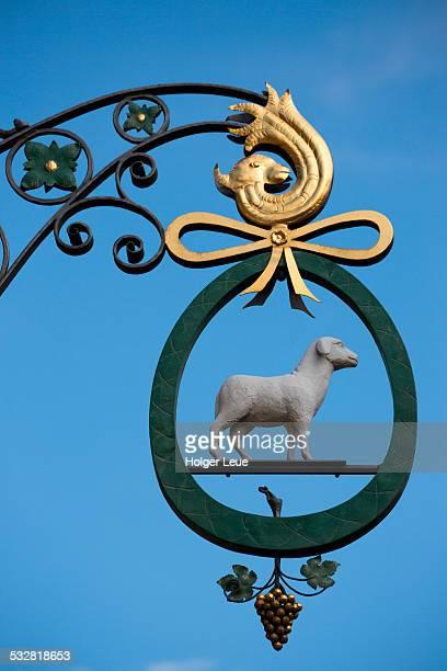 Sign outside Gasthof Zum Weissen Lamm