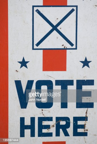 Sign outside polling station on presidential primary day 2008 in Brattleboro, Vermont