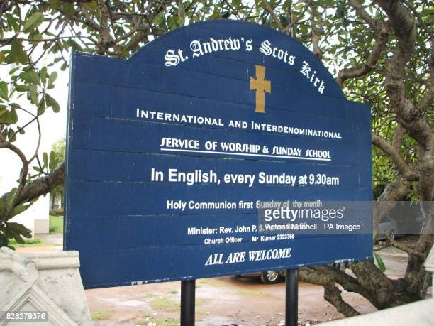 Sign outside St Andrew's Scots Kirk in Colombo Sri Lanka which has helped build a home for women branded mentally ill Rejected by their families and...
