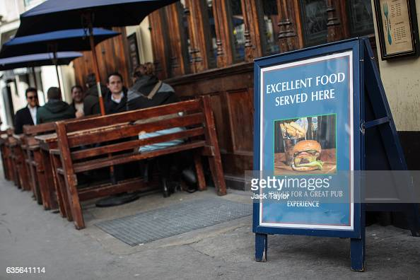 A sign outside the Angel in the Fields pub in Marylebone is displayed on February 16 2017 in London England The Association for Licensed Multiple...