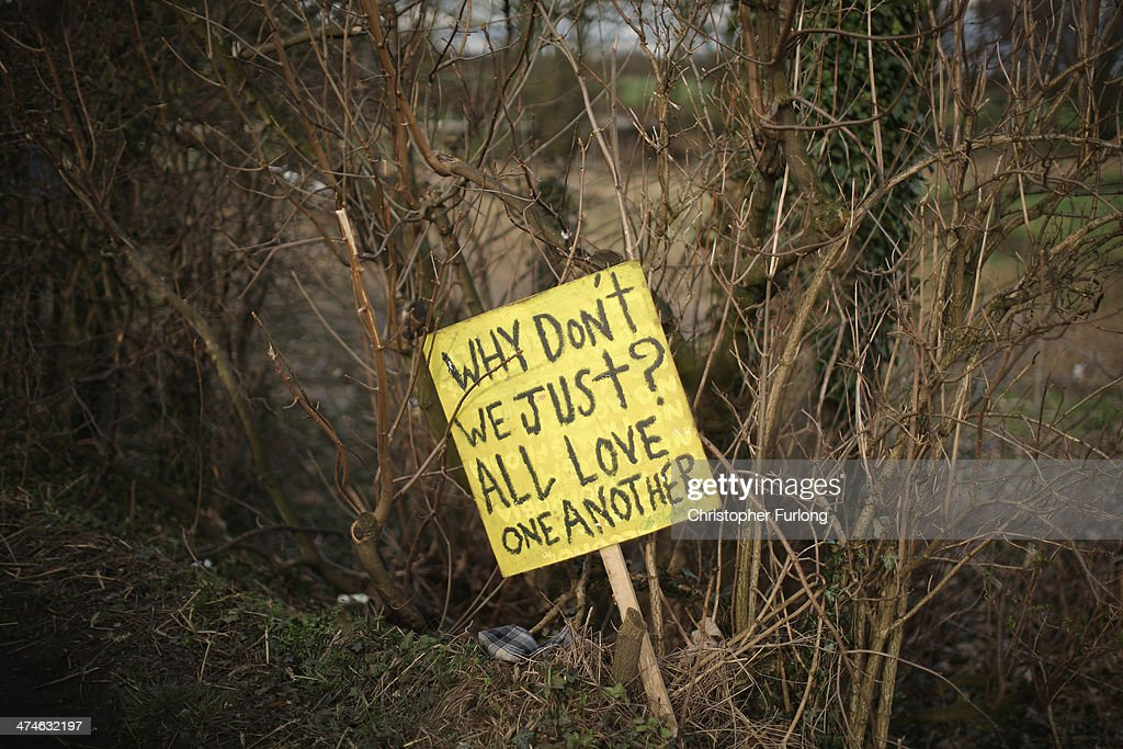 A sign placed by antifracking campaigners line the road near the Igas Barton Moss exploration facility on February 24 2014 in Barton England Plans to...