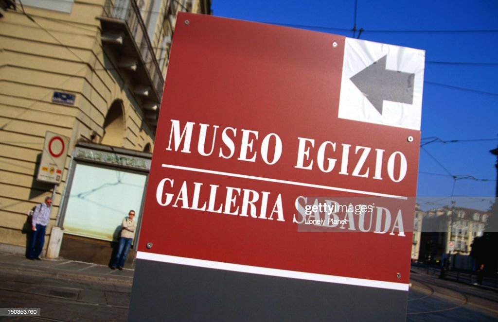Sign pointing to Galleria Sabauda and Museo Egizio. : Stock Photo