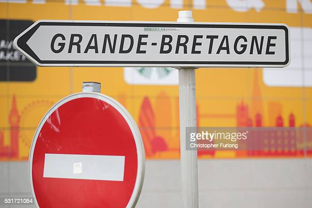 A sign points the way to Grande Bretagne at the Calais Tunnel Sous La Manche terminal on May 13 2016 in Calais France The Schengen Agreement which...