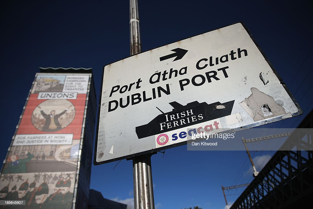 A sign points to Dublin Port on October 23, 2013 in Dublin, Ireland. Dublin is the capital city of The Republic of Ireland situated in the province of Leinster at the mouth of the River Liffey. The greater Dublin area has a population of around 1.5 Million people.