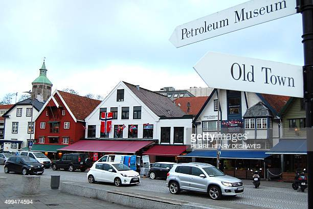A sign points to the petroleum museum on the waterfront in the centre of Stavanger on November 12 2015 Sparkling wine instead of champagne companies...