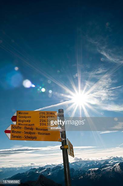 sign post on mountain Säntis, Switzerland