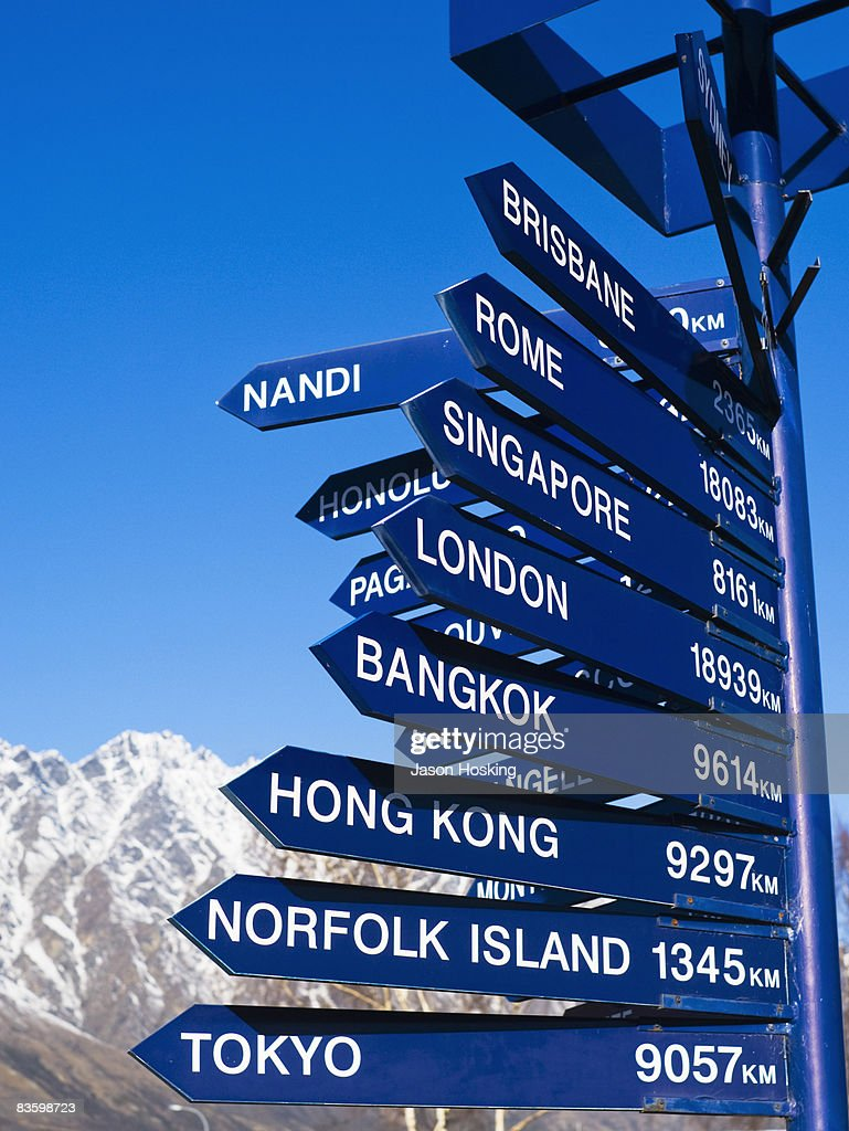 Sign post showing distances to various countries : Stock Photo
