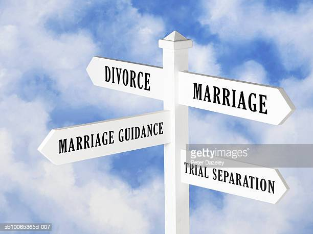 Sign post with relationship choices against cloudy sky