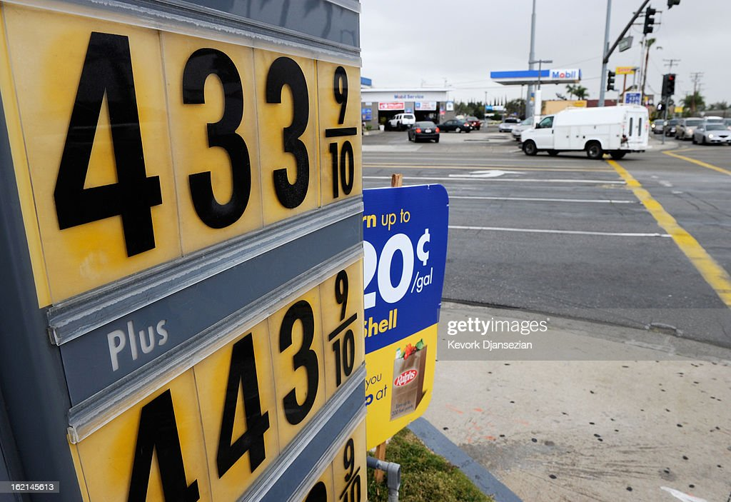 A sign posts gas prices at a Shell service station on February 19, 2013 in Tustin, California. U.S. gas prices have climbed to a four-month high and its expected to keep rising as the summer driving season approaches.