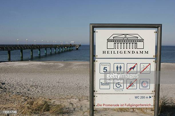 A sign provides beachgoers with information at the beach March 12 2007 in Heiligendamm Germany The next summit of Group of Eight heads of state will...