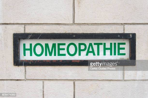 Sign reading 'Homeopathy' in French