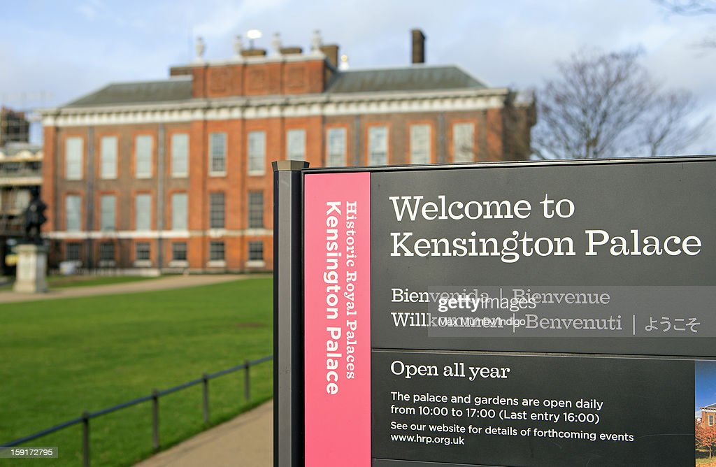 A sign reading Welcome to Kensington Palace seen outside Kensington Palace on January 08, 2013 in London, England. Prince William, Duke of Cambridge and Catherine, Duchess of Cambridge are scheduled to take up residence in apartment 1A of the Palace in 2013.
