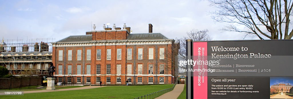 A sign reading Welcome to Kensington Palace seen outside the State Apartments of Kensington Palace and Apartment 1A which is covered in scaffolding whilst refurbishment works are being carried out on January 08, 2013 in London, England. Prince William, Duke of Cambridge and Catherine, Duchess of Cambridge are scheduled to take up residence in apartment 1A of the Palace in 2013.
