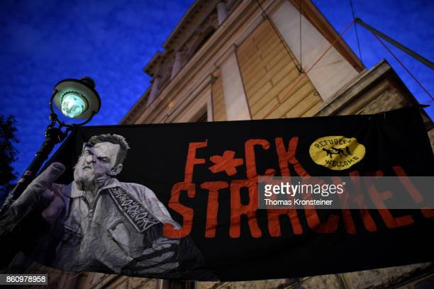 A sign reads 'Fuck Strache' during a protest on October 13 2017 in Vienna Austria Austria will hold legislative elections on October 15 and the...