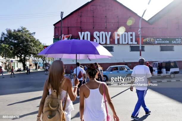 A sign reads Yo Soy Fidel as Cuba commemorates the first anniversary of Revolution leader Fidel Castros funeral on December 4 2017 in Santiago de...