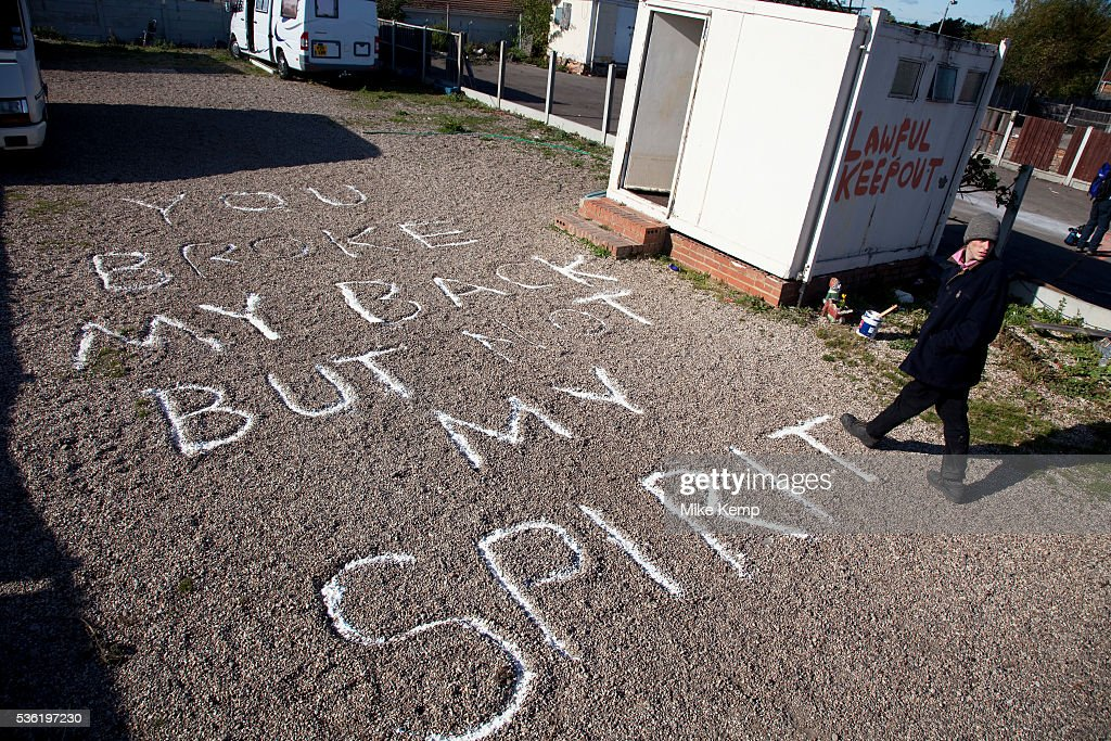 'You broke my back but not my spirit' at Dale Farm site prior to eviction Riot police and bailiffs were present on 20th October 2011 as the site was...