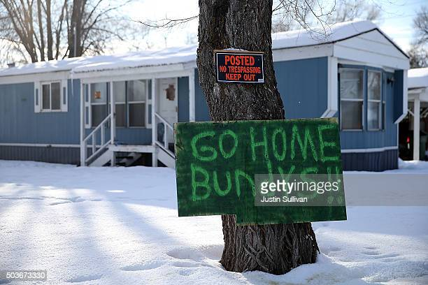 A sign referencing antigovernment militia leaders Ammon and Ryan Bundy is posted in front of a home on January 6 2016 in Burns Oregon An armed...